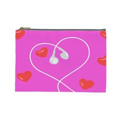 Heart Love Pink Red Cosmetic Bag (large)  by Mariart