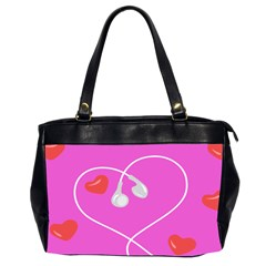 Heart Love Pink Red Office Handbags (2 Sides)  by Mariart