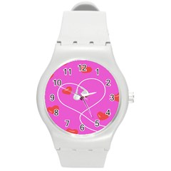 Heart Love Pink Red Round Plastic Sport Watch (m) by Mariart
