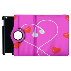 Heart Love Pink Red Apple Ipad 2 Flip 360 Case by Mariart