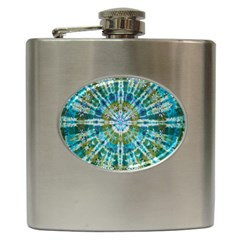 Green Flower Tie Dye Kaleidoscope Opaque Color Hip Flask (6 Oz) by Mariart
