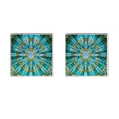 Green Flower Tie Dye Kaleidoscope Opaque Color Cufflinks (square) by Mariart