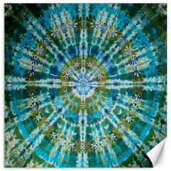 Green Flower Tie Dye Kaleidoscope Opaque Color Canvas 12  X 12   by Mariart