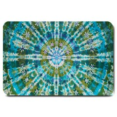 Green Flower Tie Dye Kaleidoscope Opaque Color Large Doormat  by Mariart
