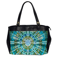 Green Flower Tie Dye Kaleidoscope Opaque Color Office Handbags (2 Sides)  by Mariart