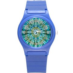 Green Flower Tie Dye Kaleidoscope Opaque Color Round Plastic Sport Watch (s) by Mariart