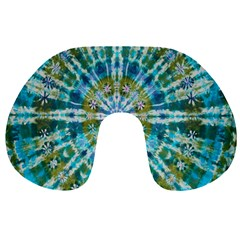 Green Flower Tie Dye Kaleidoscope Opaque Color Travel Neck Pillows by Mariart