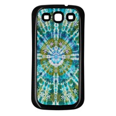 Green Flower Tie Dye Kaleidoscope Opaque Color Samsung Galaxy S3 Back Case (black) by Mariart