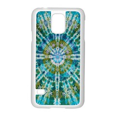 Green Flower Tie Dye Kaleidoscope Opaque Color Samsung Galaxy S5 Case (white) by Mariart