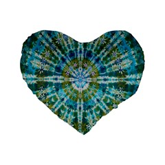 Green Flower Tie Dye Kaleidoscope Opaque Color Standard 16  Premium Flano Heart Shape Cushions by Mariart