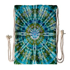 Green Flower Tie Dye Kaleidoscope Opaque Color Drawstring Bag (large) by Mariart