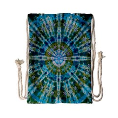 Green Flower Tie Dye Kaleidoscope Opaque Color Drawstring Bag (small) by Mariart