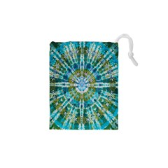 Green Flower Tie Dye Kaleidoscope Opaque Color Drawstring Pouches (xs)  by Mariart