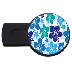 Hibiscus Flowers Green Blue White Hawaiian Usb Flash Drive Round (2 Gb) by Mariart