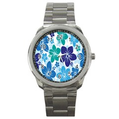 Hibiscus Flowers Green Blue White Hawaiian Sport Metal Watch by Mariart