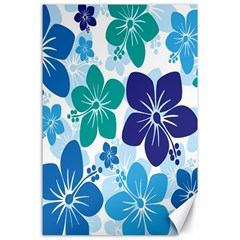 Hibiscus Flowers Green Blue White Hawaiian Canvas 24  X 36  by Mariart