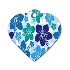 Hibiscus Flowers Green Blue White Hawaiian Dog Tag Heart (one Side) by Mariart