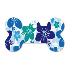 Hibiscus Flowers Green Blue White Hawaiian Dog Tag Bone (two Sides) by Mariart