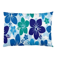 Hibiscus Flowers Green Blue White Hawaiian Pillow Case by Mariart