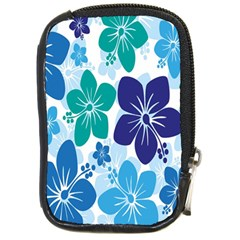 Hibiscus Flowers Green Blue White Hawaiian Compact Camera Cases by Mariart