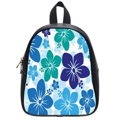 Hibiscus Flowers Green Blue White Hawaiian School Bags (small)  by Mariart