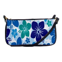 Hibiscus Flowers Green Blue White Hawaiian Shoulder Clutch Bags by Mariart