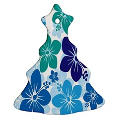 Hibiscus Flowers Green Blue White Hawaiian Ornament (christmas Tree)  by Mariart
