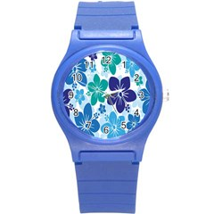 Hibiscus Flowers Green Blue White Hawaiian Round Plastic Sport Watch (s) by Mariart