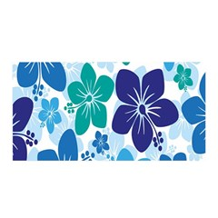Hibiscus Flowers Green Blue White Hawaiian Satin Wrap by Mariart