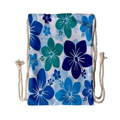 Hibiscus Flowers Green Blue White Hawaiian Drawstring Bag (small) by Mariart