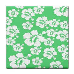 Hibiscus Flowers Green White Hawaiian Tile Coasters by Mariart