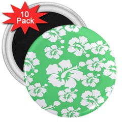 Hibiscus Flowers Green White Hawaiian 3  Magnets (10 Pack)  by Mariart