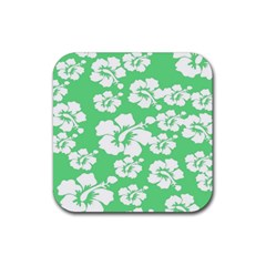 Hibiscus Flowers Green White Hawaiian Rubber Square Coaster (4 Pack)  by Mariart