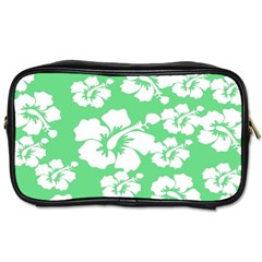 Hibiscus Flowers Green White Hawaiian Toiletries Bags by Mariart