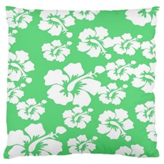 Hibiscus Flowers Green White Hawaiian Large Cushion Case (two Sides) by Mariart