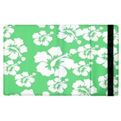 Hibiscus Flowers Green White Hawaiian Apple Ipad 3/4 Flip Case by Mariart