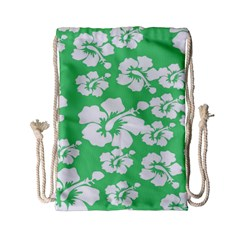 Hibiscus Flowers Green White Hawaiian Drawstring Bag (small) by Mariart