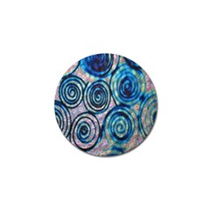Green Blue Circle Tie Dye Kaleidoscope Opaque Color Golf Ball Marker (4 Pack) by Mariart