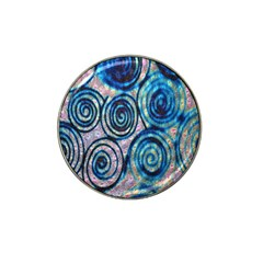 Green Blue Circle Tie Dye Kaleidoscope Opaque Color Hat Clip Ball Marker (4 Pack) by Mariart