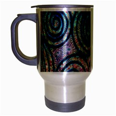 Green Blue Circle Tie Dye Kaleidoscope Opaque Color Travel Mug (silver Gray) by Mariart