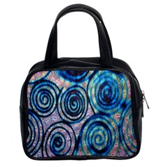 Green Blue Circle Tie Dye Kaleidoscope Opaque Color Classic Handbags (2 Sides) by Mariart