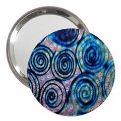 Green Blue Circle Tie Dye Kaleidoscope Opaque Color 3  Handbag Mirrors by Mariart