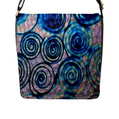 Green Blue Circle Tie Dye Kaleidoscope Opaque Color Flap Messenger Bag (l)  by Mariart