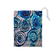 Green Blue Circle Tie Dye Kaleidoscope Opaque Color Drawstring Pouches (medium)  by Mariart