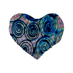 Green Blue Circle Tie Dye Kaleidoscope Opaque Color Standard 16  Premium Flano Heart Shape Cushions by Mariart