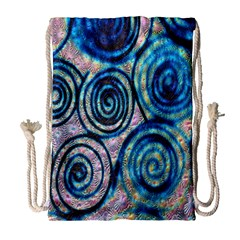 Green Blue Circle Tie Dye Kaleidoscope Opaque Color Drawstring Bag (large) by Mariart