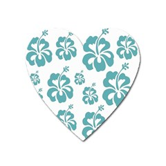 Hibiscus Flowers Green White Hawaiian Blue Heart Magnet by Mariart