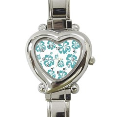 Hibiscus Flowers Green White Hawaiian Blue Heart Italian Charm Watch by Mariart