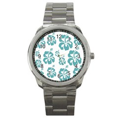 Hibiscus Flowers Green White Hawaiian Blue Sport Metal Watch by Mariart