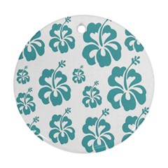Hibiscus Flowers Green White Hawaiian Blue Round Ornament (two Sides) by Mariart
